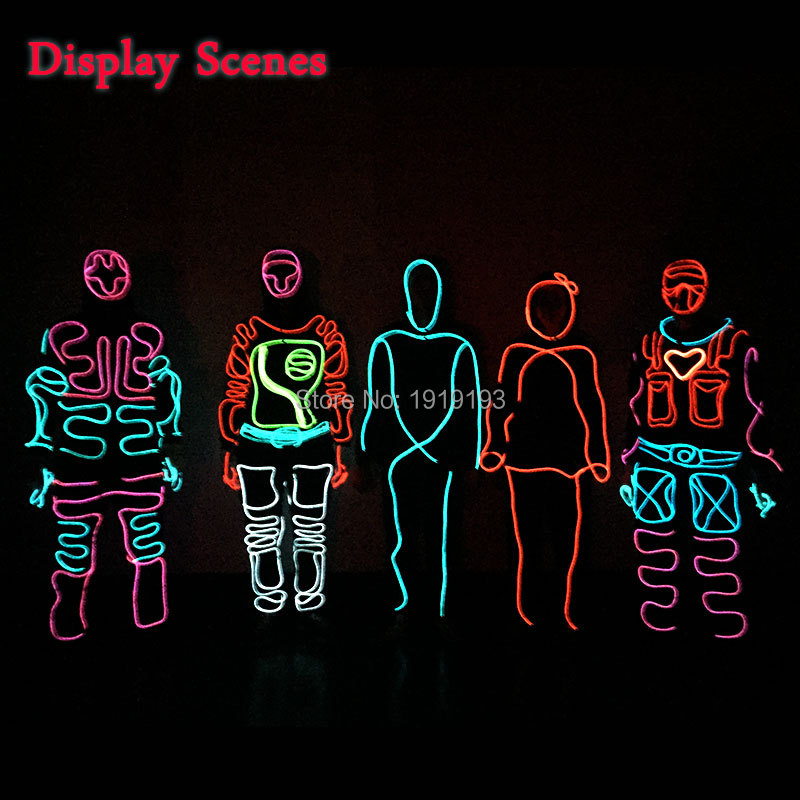Neon Led Strip Love Hearts Superhero Design Clothes Easter Day Decor EL Rope Tube Anonymous Glowing Costume for Graduation Party<br>