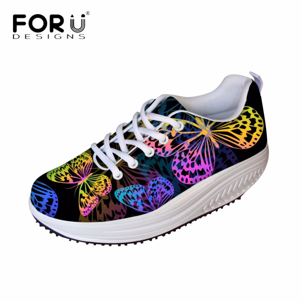 FORUDESIGNS 2018 Height Increasing Flats Shoes Women Cute 3D Butterfly Printed Slimming Swing Shoes for Female Shape Ups Women  <br>