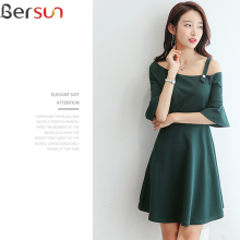 Bersun 2017 New Arrivals Japanese Korean sexy Dress Top Summer Fashion black Retro Brand women Dresses Slash neck Sweet Lady