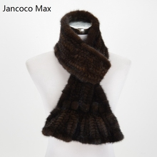 Jancoco Max S1580 Thick knitted Lady Real mink fur scarf Women Winter Neck Warm Neckerchief  Retail / Wholesale