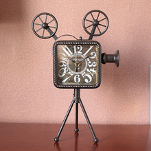 Creative personality fashion clock mute room Bar Cafe clock Retro Old Video camera style(China)
