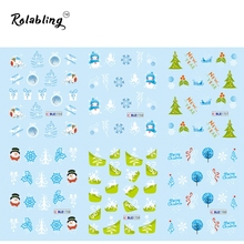 2017 Hot Sale Snowman Water Tranfer Sticker Nails Painting Paper Christmas Nail Tips Snowflake Nail Art Gliter Nails
