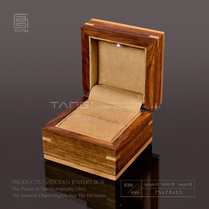 High Quanlity Wood Box With Light Fashion Romantic Jewelry Ring Boxes Coffee Color Gift Box B026<br>
