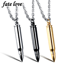 6pcs/lot Bullet pendant necklaces stainless steel hip hop man jewelry accessories 2017 new fashion cool men necklace black colar(China)