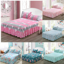 Classic Single Layer Skirt Bedding Sets Non-slip Sheet Cover Bed Sheet Room Decoration Flower Printing Bedspread Pillowcase 3pcs(China)