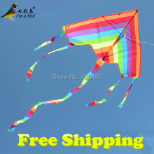 Free Shipping Outdoor Fun Sports Factory Outlet Children Triangle Color Kite With Flying Tools Easy To Fly