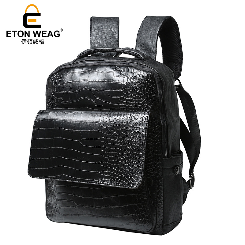 ETONWEAG Brands Alligator Leather School Backpacks For Men Black Luxury School Bags Fashion Laptop Bag BagPack Travel Backpack<br>