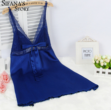 Ladies Sexy Silk Satin Nightgown Lace Nightdress Sleeveless Nighties V-neck Night dress Summer Sleep Dress Nightwear For Women(China)