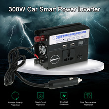 Car Power Inverter DC 12V to AC 220V 50Hz 300W Portable Car Charger Converter Transformer 2 USB Port 1 AC Outlet Voltage Display