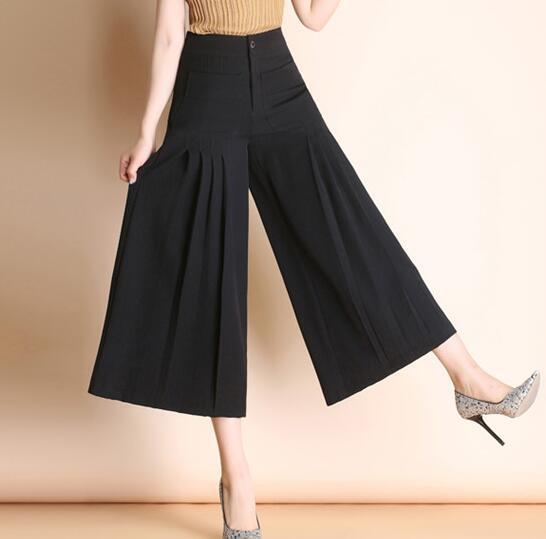Wide leg pants for women plus size black green high waist casual capris new fashion summer spring autumn trousers female yfq0707