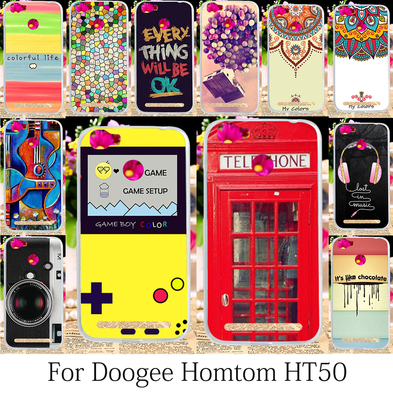 TAOYUNXI Phone Cases Homtom HT50 Case Cover Silicon Soft Phone Bags Doogee Homtom HT50 Back Cover Smart Camera 5.5 inch