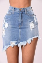 New Stylish Women High Waist Ripped Holes Blue Denim Skirt Destroyed Asymmetrical Hem Pocket Bodycon Mini Jeans Skirt Summer Hot