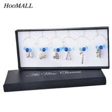 Hoomall 6PCs/Box New Year Snowflake Pendants DIY Wine Christmas Dinner Wedding Favor Table Decoration 8.5cm Party Supplies(China)