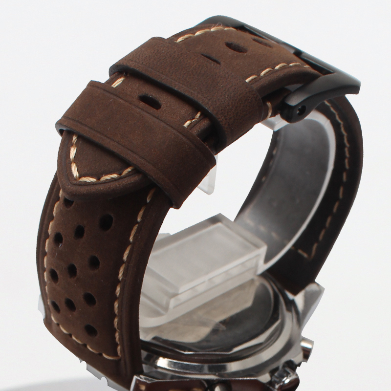 New Watch Band Bracelets 20mm 22mm 24mm 26mm  Watch Strap Black deployment steel clasp cowhide leather bottom fashion<br><br>Aliexpress