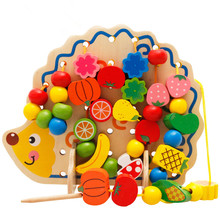 2017 New Arrival Montessori Wood Toys Hedgehog Fruit Beads Geometric Blocks Children Learning Education Christmas Gift for Kids(China)
