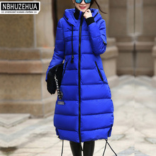 Hooded women winter jacket 2016 Casual Thick Warm Blue Black Long Coats  Down jacket for Pregnant Women Plus Size XL- 5XL YRF121