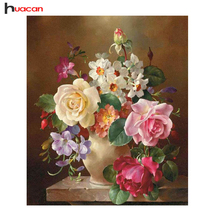 Hot Sale DIY Diamond Painting Flowers in Vase Hand Made Diamond Embroidery Mosaic Cross Stitch Pattern Wall Sticker Crafts Decor