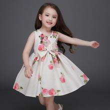 2017 Rose Princess Party Dress Vestidos Girls Children Clothing Kids Anna Rose Floral Summer Dress Costume