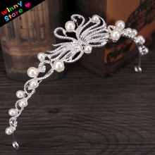 Trendy Bridal Hair Jewelry Silver Color Swans Designs Small Pearl Tiaras Crown For Wedding Bride Cake Tiara Headdress Girls