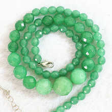 "HOT Green aventurine jades elegant natural stone chalcedony 6-14mm new round faceted beads handmade necklace 18""B642"