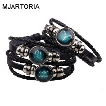 MJARTORIA 12 Constellation Zodiac Signs Bracelet Mens Bracelets beaded Handmade Charm Leather Bracelet Punk Rock Men Jewelry