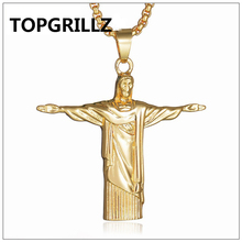 TOPGRILLZ Stainless Steel Gold&Silver Color Plated JESUS Pendant Necklace Personality Trend Hip Hop Men Women Fashion Jewelry