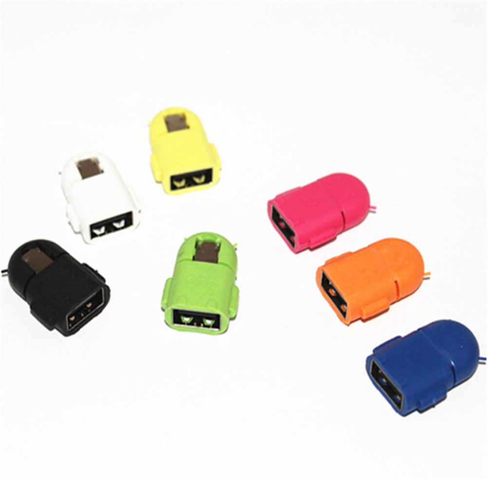 2 Pcs Android Robot Shaped Micro USB To USB OTG Adapter Cable For Smart Phone Galaxy S3 S4 Note2 Random Sent