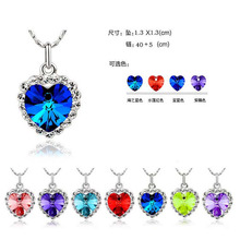 Charming Jewelery Accessories Titanic Heart Of Ocean Crystal Rhinestone Inlaid Heart Shaped Pendant NecklaceB21