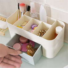 MENGXIANG Multi-functional Jewelry Box Plastic Cosmetic Storage Box With Small Drawer Desk Sundries Storage Container Organizer(China)