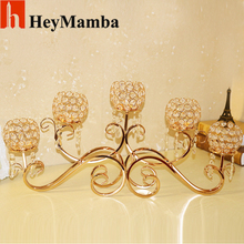 5 Head Gold Plated Metal Candle Holder Crystal Candle Holders Stand For Wedding Candelabras Centerpiece Decoration H/78cm(China)