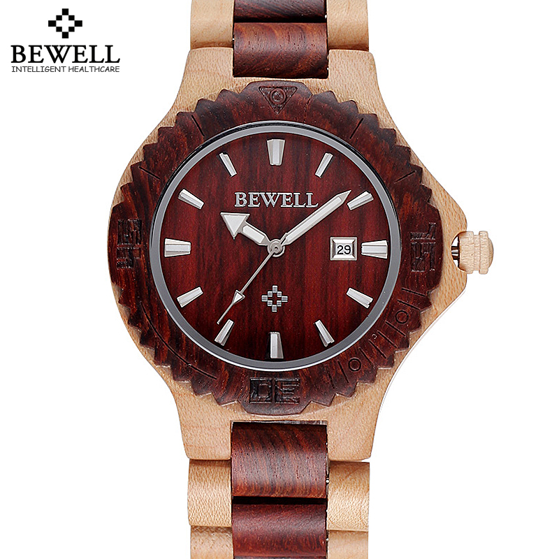 Bewell Brand Luxury Auto Date Silver Gold Hand Maple Wood Watches Men Fashion Retro Wooden Quartz Watch Time Hour Male relojes<br>