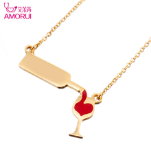 AMORUI Women's Fashion Love Wine Bottle Gold Silver Color Necklaces Pendants for Women Red Enamel Heart Chain Necklace Jewelry(China)