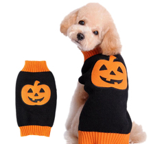 Halloween Style Pumpkin Pet Dog Clothes Winter Warm Sweater Knitwear Puppy Clothes - Black + Orange