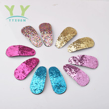 YYXUAN 2 Pieces=1 pair Grils Hair Clips Small Glitter Snap Clip Little Girl Tiny Clips A5(China)