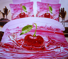 5pc red cherry print comforter,comforter quilt + 4pc duvet sets in a bag,3D Oil painting red cherry fruit bedding sets,bedlinen