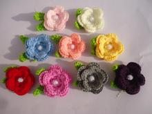 handwoven pattern child Knitting flower baby hairbands hats shoe sweater corsage Crochet wool flower Garment accessories