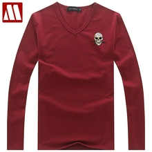2017 Spring fashion hip hop man t shirts Skull Rose applique cotton casual rock punk t-shirt tees tops men clothes Plus size 5XL(China)