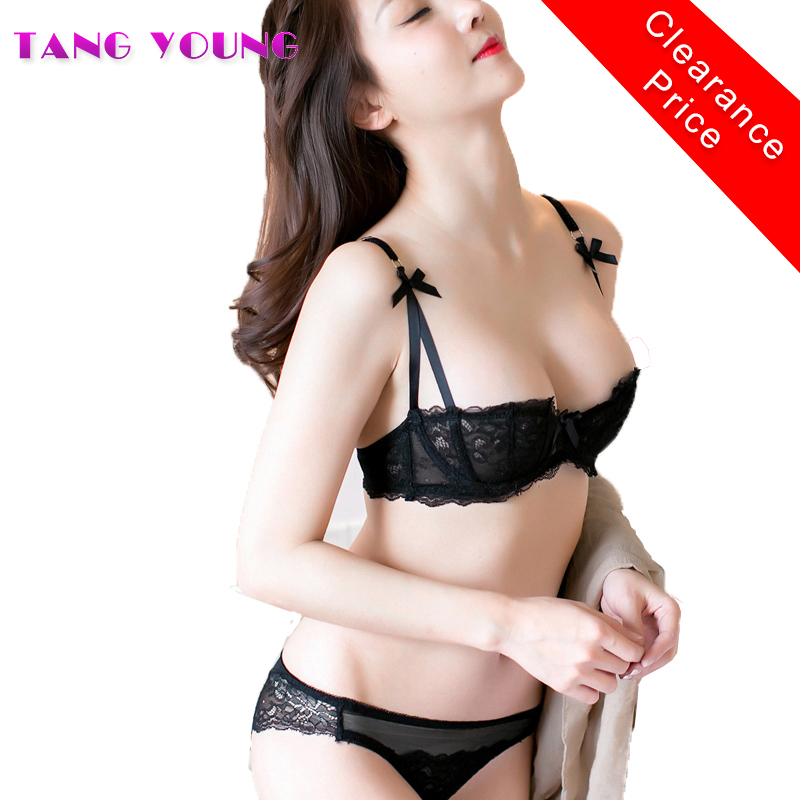 2017 Sexy Thin Cup Bra & Brief Sets Push Up 1/2 Cup Lace Breathable Women Underwear Bra Set 3 color half cup embroidery bra set