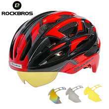 ROCKBROS Bicycle Bike Cycling Helmet EPS+PC Material Ultralight Mountain Bike Equipment 32 Air Vents With 3 Lenses Size:56-62cm(China)