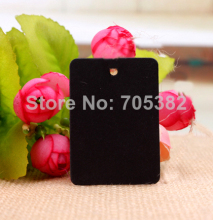 2 * 3.3cm (With cord ) Black blank hang tag Price tags Gift label Retro paper sewing garment tags Wholesale(aa-637-1)