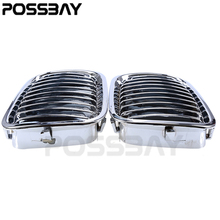 POSSBAY Car Accessories 1 Pair Chrome Front Kidney Grill Grilles For BMW 3-Series E46 Compact 2001-2005 Car Styling