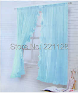 Price of 2pieces solid Organza window curtain screening decorated with Lace sheer panels blue white beige pink