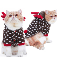 Pet cat Funny Clothes Christmas clothes Hallowmas suit Dot deer Elk Party Dress Flannel Thick Warm Soft Cute Cat Fall Winter(China)