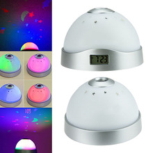 Colorful Change Table Clock LED Star Night Light Magic Moon Time Projector Alarm(China)