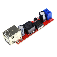 Free Shipping Dual USB Output 9V / 12V / 24V / 36V Car Charger Switch 5V DC-DC Power Supply Module 3A Buck Regulator