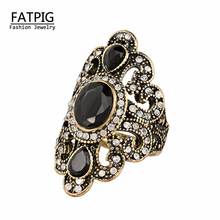Women Jewelry Bohemian Style Antique Gold Rings for Women Vintage Jewelry Black Red Resin Stone Turkish Ring female Ethnic Rings(China)