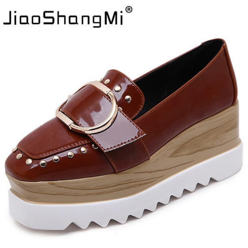 2017 Buckle Women Fashion Flat Platform Leather Slip-On Square Toe Oxford Shoes For Women Platform Autumn Winter Fashion Creeper<br>