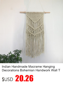 Small Handmade Macrame Wall Art Cotton Thread Wall Hanging Tapestry Bohemian Rope Pots Holder Hemp Rope Net Wall Decorations 5