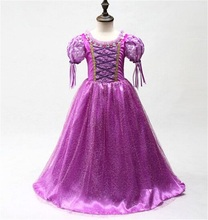 Princess Dress For Girl Fancy Cosplay Costume Children Clothing Girl Dress Cartoon Purple Gown Kid's Party Fancy Ball Dress