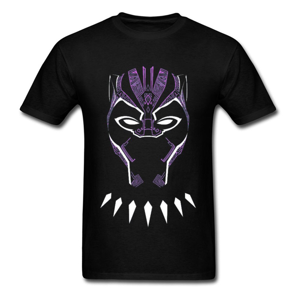 2018 New Fashion Mens Top T-shirts O Neck Short Sleeve Pure Cotton Black Panther Glowing Mask Tops Shirt Funny Tee Shirt Black Panther Glowing Mask black